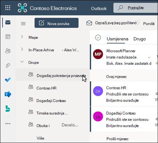 Office 365 grupe u programu Outlook