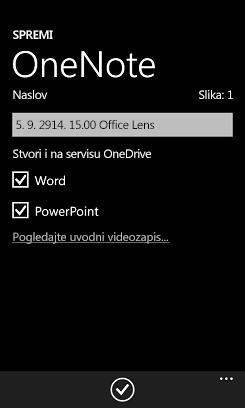 Pošalji slike u Word i PowerPoint na servisu OneDrive