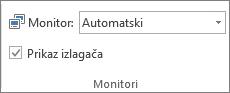 Grupi monitori na kartici Dijaprojekcija
