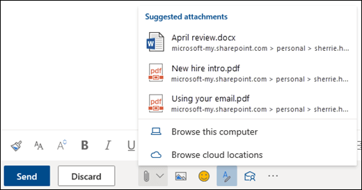 Prilaganje datoteka s prikazom predloženih privitaka
