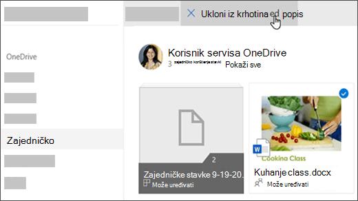 """Odabrana datoteka koja prikazuje mogućnost """"Ukloni s zajedničkog popisa"""" pri vrhu"""