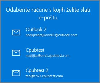 Odaberite račun s kojeg želite poslati poruku e-pošte
