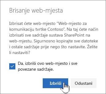 Ako ste sigurni da želite izbrisati web-mjesto, kliknite Izbriši