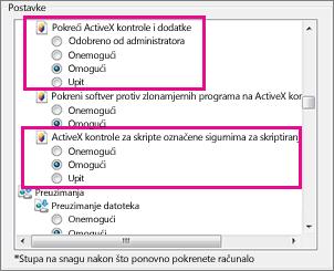 Dopusti ActiveX kontrole za učitavanje i pokretanje u programu Internet Explorer