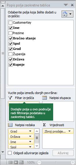 Filtar izvješća u oknu Popis polja zaokretne tablice