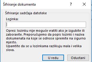 Šifriranje dokumenta dijaloškog okvira