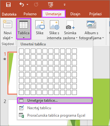 Prikaz mogućnosti Tablica na kartici Umetni na vrpci u programu PowerPoint