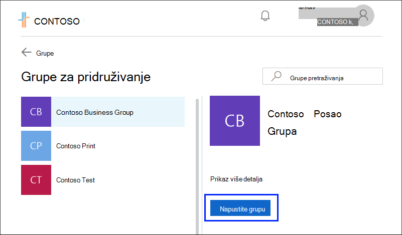 Page Join groups, with Leave group button highlighted