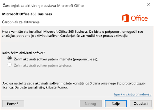 Prikazuje čarobnjak za aktivaciju za Office 365 Business