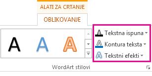 Grupa WordArt stilovi na kartici Alati za crtanje, Oblikovanje