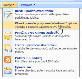 Otvori u programu Windows Explorer izbornik mogućnosti u odjeljku akcije