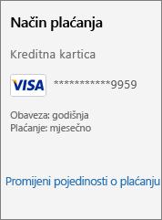 """Snimka zaslona s prikazom veze """"Promijeni podatke o plaćanju""""."""