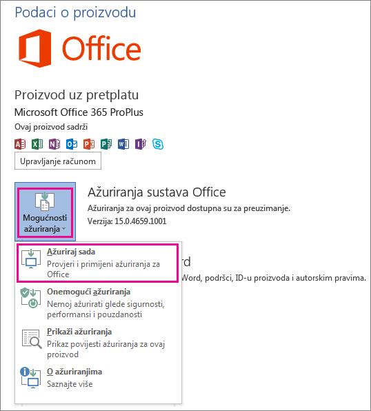 Ručno traženje ažuriranja sustava Office u programu Word 2013