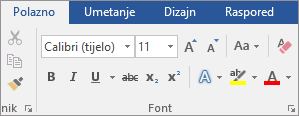 U programu Word, na kartici Polazno u grupi Font odaberite font i veličinu fonta.