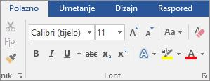 Na kartici Polazno u grupi Font programa Word odaberite font i veličinu fonta.