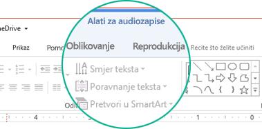 """Kada na slajdu odaberete audioisječak, na vrpci alatne trake pojavit će se odjeljak """"Alati za audiozapise"""" s dvije kartice: Oblikovanje i Reprodukcija."""