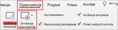Snimka zaslona s tabulatorom dijaprojekcija i snimanje gumba dijaprojekcija