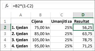 Primjer smanjenja iznosa za određeni postotak