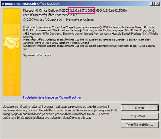 """Snimka zaslona na kojoj se vidi mjesto prikaza broja verzija programa Outlook 2007 u dijaloškom okviru """"O programu Microsoft Office Outlook""""."""