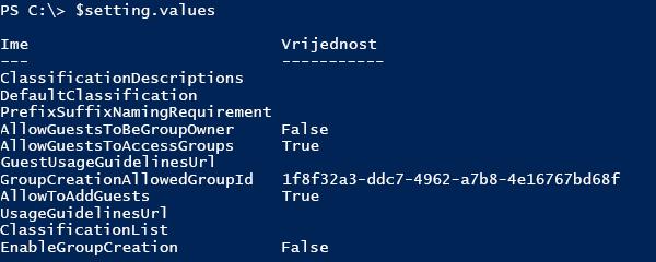 Snimka zaslona s popisom trenutnih vrijednosti konfiguracije