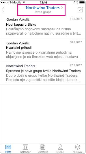 Prikaz mobilni razgovora programa Outlook s uklonjenim zaglavljem istaknuta