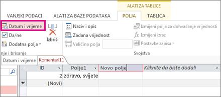 Dodavanje polja datuma/vremena u prikazu podatkovne tablice