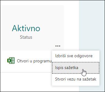 Mogućnost ispisa sažetka u programima Microsoft Forms