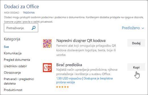 Snimka zaslona stranice dodaci za Office u kojem možete odabrati ili potražite dodatak za Word.