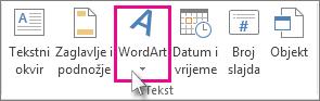 Kliknite da biste dodali WordArt.