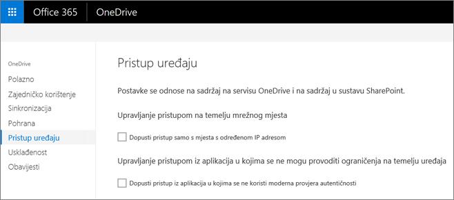 Uređaj karticu pristup centru za administratore servisa OneDrive