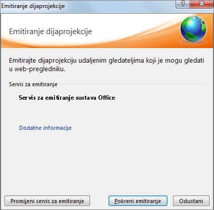 Prikazuje dijaloški okvir Emitiranje dijaprojekcije u programu PowerPoint 2010