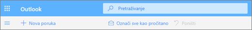 Snimka zaslona prikazuje okvir za pretraživanje upita na servisu Outlook.com.