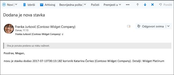 Poruka e-pošte koju Microsoft Flow šalje kada je stavka izmijenjena