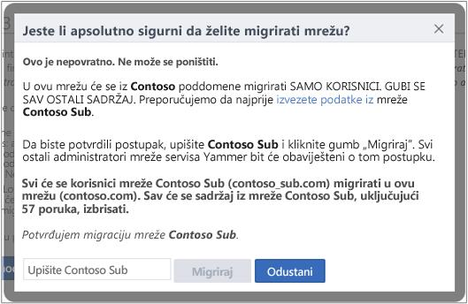 Snimka zaslona dijaloškog okvira potvrdite da želite migrirati mrežu servisa Yammer