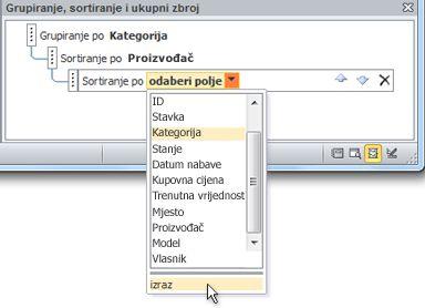 Odabir mogućnosti izraza u oknu Grupiranje, sortiranje i ukupni zbroj