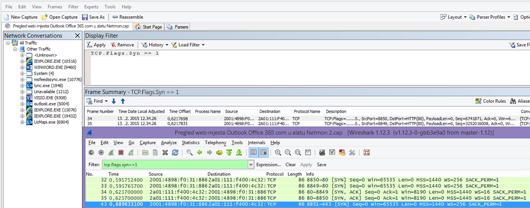 Filtriranje paketa za sinkronizaciju u programu Netmon ili Wireshark pomoću oba alata: TCP.Flags.Syn == 1.