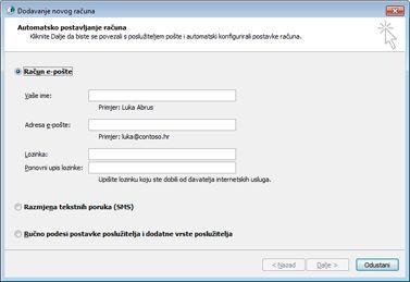 Dijaloški okvir Dodavanje novog računa s odabranim računom e-pošte