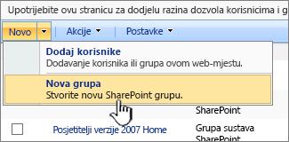 Stvaranje nove grupe
