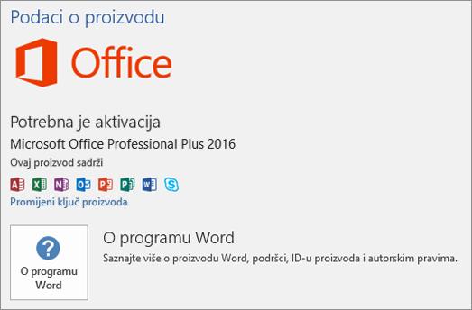 Prikazuje prikaz Backstage za verziju sustava Office s količinskim licenciranjem