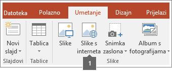 Snimka zaslona dodavanja slika s interneta u aplikacije sustava Office.