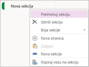 Mogućnost Preimenuj sekciju u programu OneNote Online.