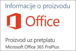 Snimka zaslona s dijelom odjeljka Informacije o proizvodu u aplikaciji sustava Office Pokazuje da je aplikacija proizvod s pretplatom za Office 365 ProPlus.