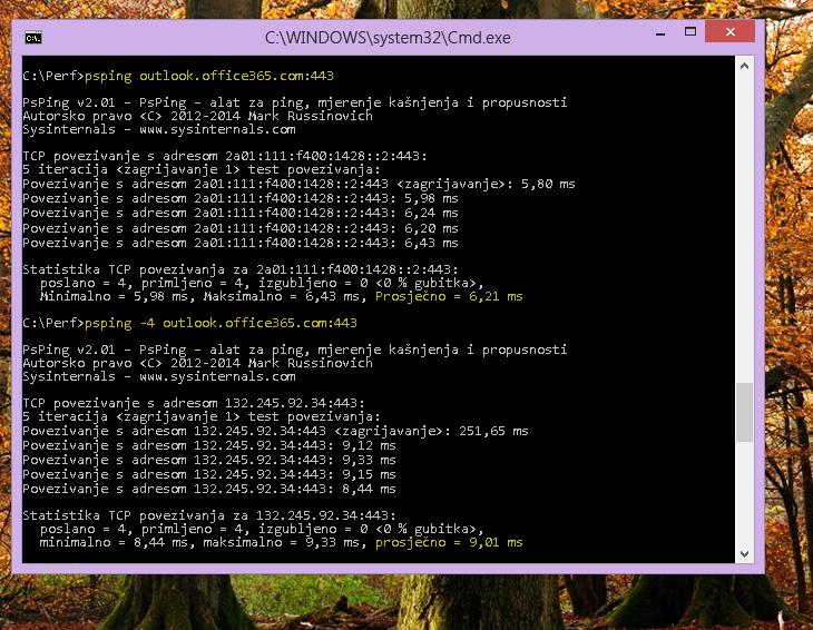 Pronađite IP adresu pomoću naredbe PSPing u naredbenom retku na klijentskom računalu.