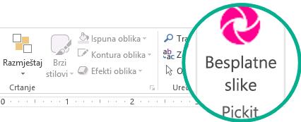 Kada instalirate dodatak za besplatne slike sa servisa Pickit, prikazivat će se na desnom kraju kartice Polazno na vrpci.