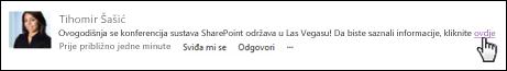 Veza web-stranice u objavi oblikovana zaslonskim tekstom