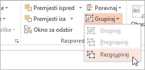Odabir Razgrupiraj na izborniku grupe
