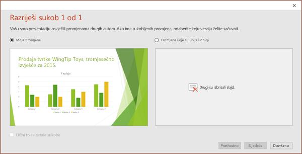 Prikaz dijaloškog okvira sukobljenih promjena u programu PowerPoint