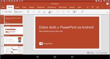 Vodoravni prikaz na slajdu programa PowerPoint u sustavu Android