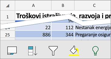 Radni list s dostupnim kontekstnim naredbama na dnu zaslona