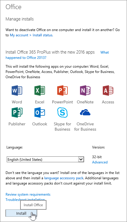 Stranica sustava Office 365 moj softver za preuzimanje sustava Office 2016
